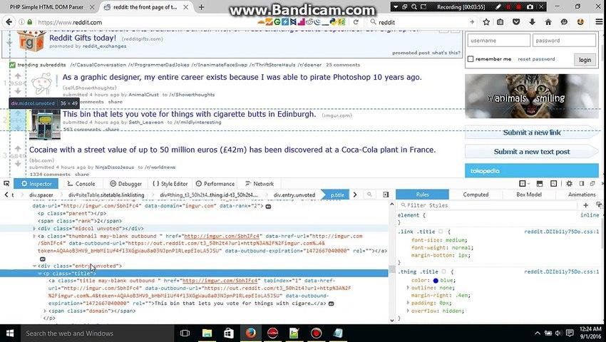 Web scraping using PHP