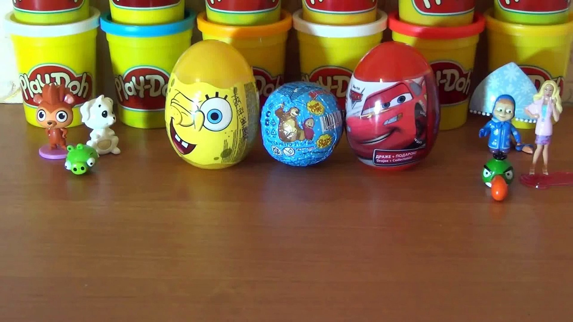 3 Surprise eggs - SpongeBob, Masha and the Bear surprise egg and Disney Pixar Cars surprise egg