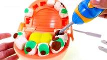 Dentist Amy Jo Helps Doctor Drill n Fill Play Doh Cavities - Gross Playdough Teeth
