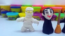 How To Make Halloween Play Doh Jack Skellington, Dracula, Witch, Frankenstein and Mummy