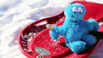 Cookie Monster Driving a Sled Crashing Falling Cookie Monster Sledding Too Icy for Cozy Coupe 0QVMQK