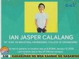 UB: Public service announcement: Missing person Ian Jasper Calalang