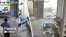 Une caméra filme le passage d'une tornade depuis l'intérieur d'une boutique