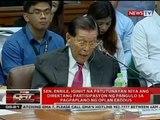 Enrile, iginiit na patutunayan niya ang partisipasyon ng pangulo sa pagpaplano ng Oplan Exodus