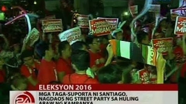 24 Oras: Mga taga-suporta ni Santiago, nagdaos ng street party sa huling araw ng kampanya