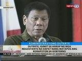 Duterte, iginiit sa harap ng mga negosyante na dapat nang matapos ang korapsyon sa gobyerno