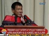 UB: President-elect Duterte at VP-elect Robredo na kapwa-manunumpa na sa Huwebes, mas kilalanin
