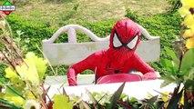 Baby Spiderman NAUGHTY Spiderman & Frozen Elsa w  Litle Joker Fake Police bike Toy! Superhero Fun