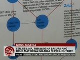 24 Oras: Sen. De Lima, tinawag na basura ang drug matrix na inilabas ni Pres. Duterte