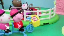 PEPPA PIG BREAKS HER LEG DisneyCarToys Frozen Elsa and Barbie at Playground Park