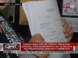 Kampo nina de Lima at solgen, pinagkokomento ng SC sa isyu ng presidential immunity from suit