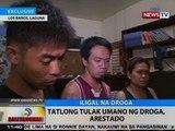 BT: 3 tulak umano ng droga, arestado sa Los Baños, Laguna