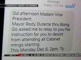 Robredo, nagbitiw sa HUDCC matapos sabihan ni Pres. Duterte na huwag nang dumalo sa cabinet meetings
