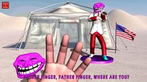 TROLL FACE SING KARAOKE Finger Family | Nursery Rhymes for Children | 3D Animation