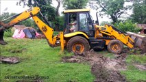Jcb 3dx Backhoe Loader And Front Wheels Are Stuck In Mud @ Self