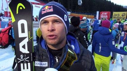 Réactions d'Alexis Pinturault après sa victoire en Combiné à Santa Caterina