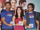 John Abraham, Ayushmann Khurrana and Yami Gautam at the Music Launch of 'Vicky Donor'