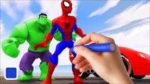 DISNEY PIXAR CARS MCQUEEN RED + Spiderman & HULK + Finger Family Wheels On The Bus Nursery Rhymes