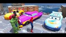 Spiderman Cars Smash Party Nursery Rhymes w/ Disney Pixar Cars Lightning McQueen Colors