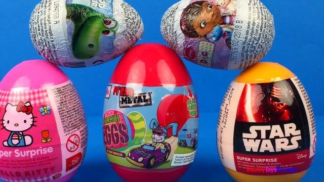 Disney CARS Mater opens surprise eggs - Dino Surprise Eggs Hello Kitty Eggs Doc McStuffins Eggs