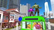 Colors Spiderman Hulk Frozen Family Singing Wheels On The Bus Go Round And Round Nursery Rhymes