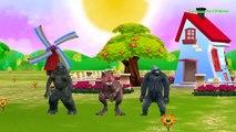 Dinosaurs Cartoon Rap Dance | Crazy Godzilla King Kong Rain Rain Go Away Nursery Song