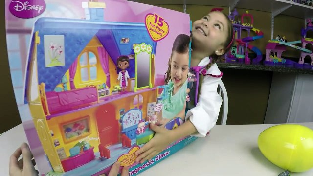 BIG DISNEY DOC MCSTUFFINS DIAGNOSIS CLINIC Toy + Kinder Surprise Eggs + Doc McStuffins Toys Opening