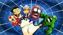 Finger Family Rhymes Spiderman Hulk Captain America Minions Cartoons   Finger Family Nursery Rhymes