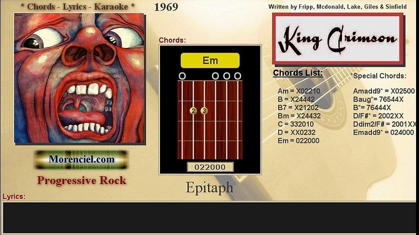 Chords & Lyrics #0126 King Crimson  - Epitaph