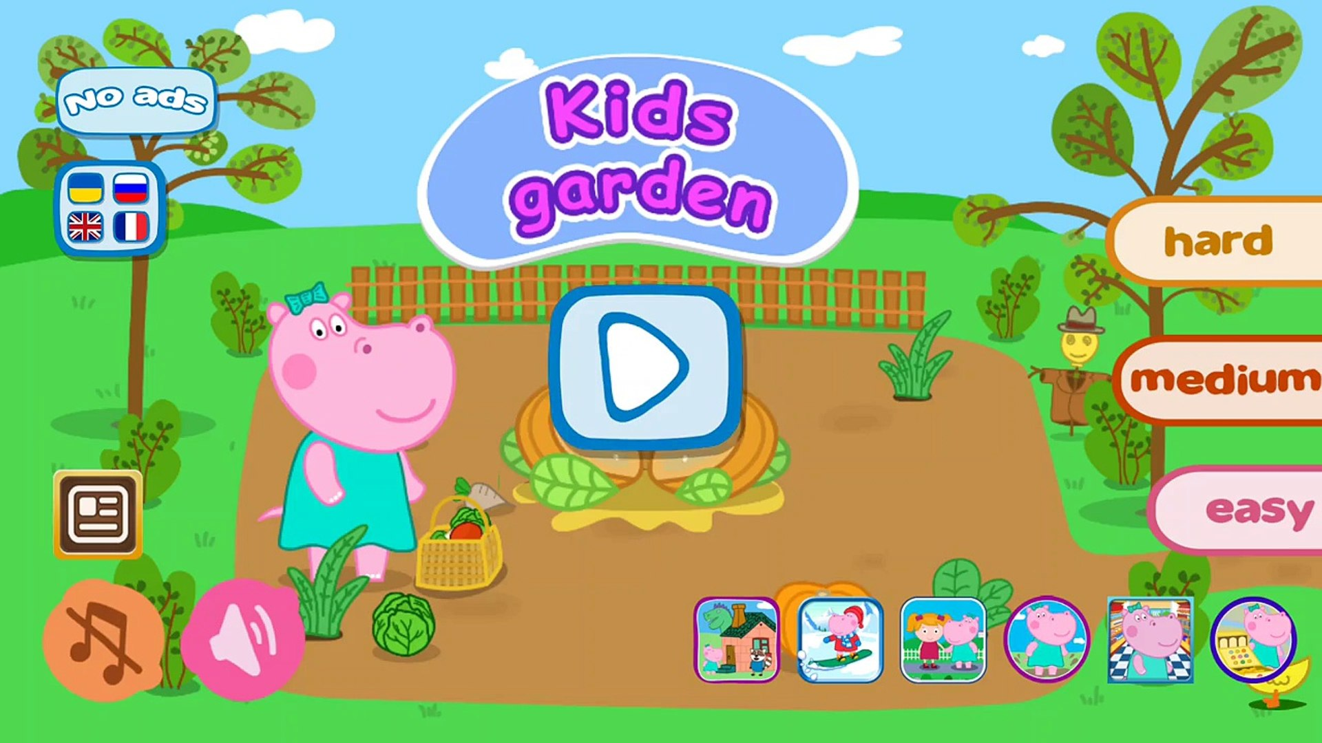 Hippo Peppa kids Garden - Android educational gameplay Movie apps free kids best