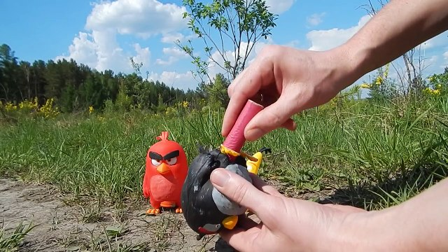 real life angry birds movie petard explosion diy craft painted toy HD rocket bomb