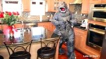 Godzilla Dinosaur Steals Spidermans Present??? Birthday Surpise Present Mystery Lots of Toys