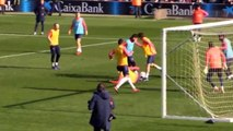 Lionel Messi nutmegs defender and keeper with goal in open training session (Video)