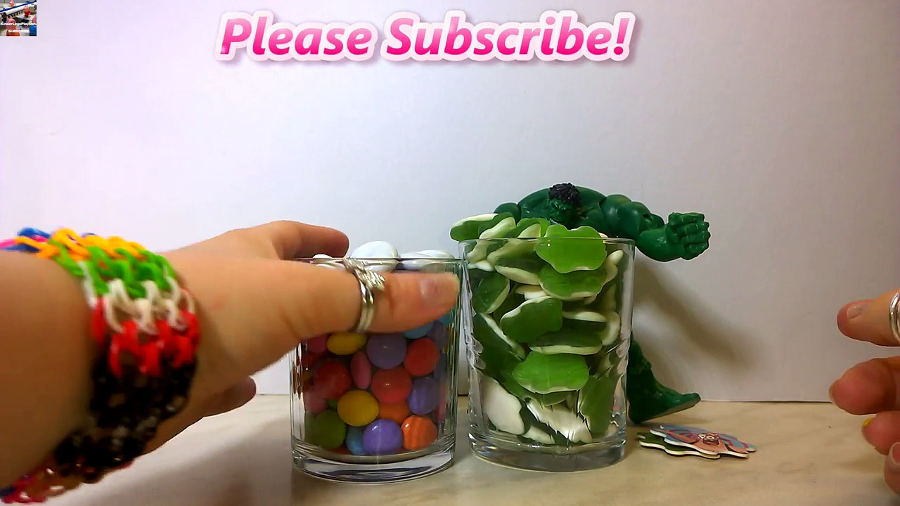 The Incredible Hulk and 2 Glass of Candy | MLP SpongeBob SquarePants Hulk Candy Glass