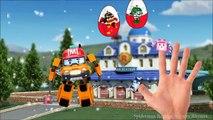 Robocar Poli Finger Family Song Surprise Eggs - Helly Amber Roy Poli Nursery Rhymes Cartoon for Kids