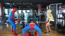 Spiderman Frozen Elsa Anna Snow White vs Maleficent Fun in Pool Gym Prank Fun Superhero In Real Life
