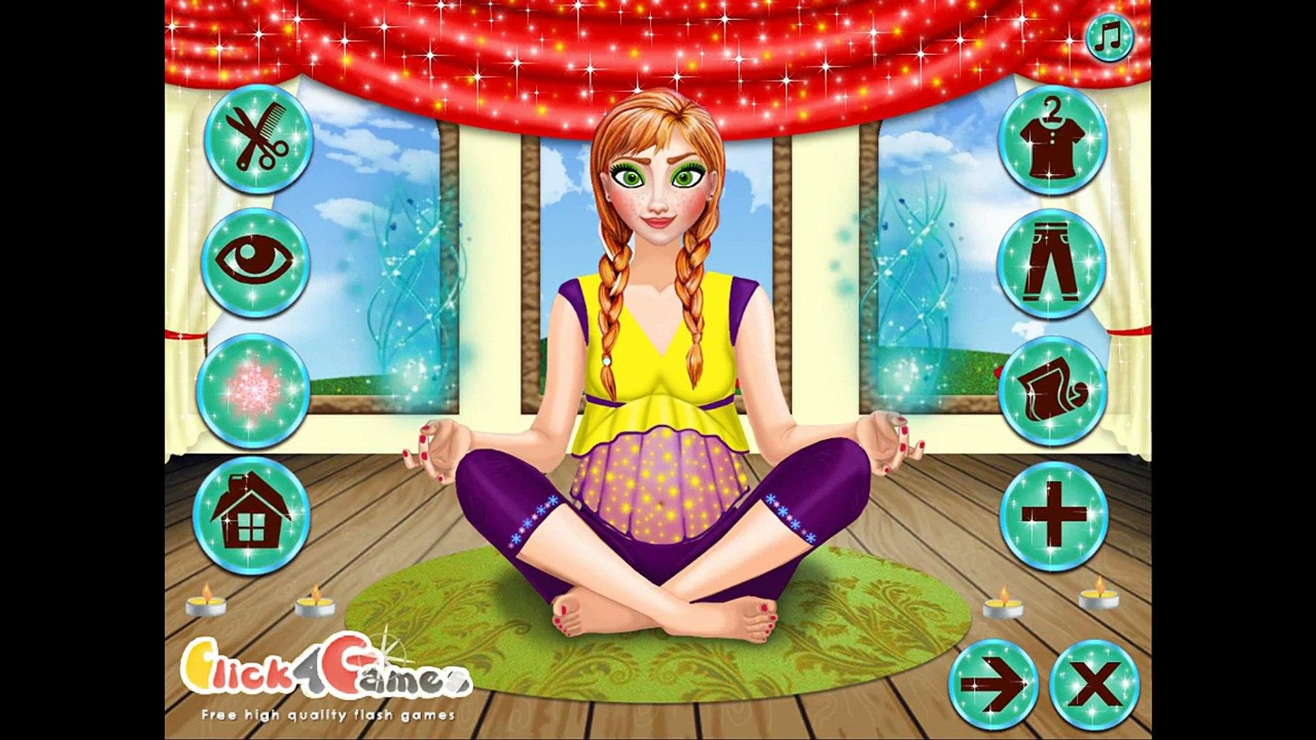 NEW Игры для детей—Disney Принцесса Беременная Анна на йоге—мультик для девочек