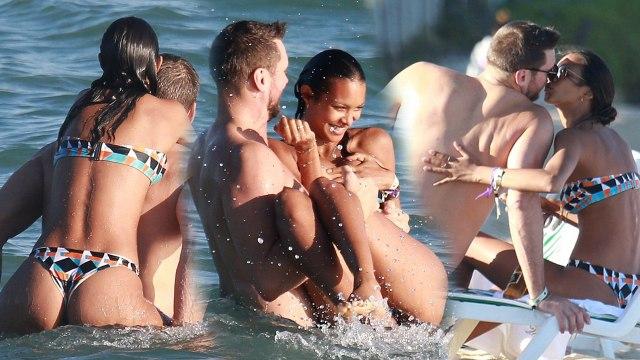 Lais Ribeiro Kisses Basketball Player Jared Homan During Tropical Getaway