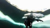 Plongée incroyable sous la glace d'un lac gelé au Canada !