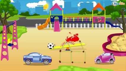 Yarış Arabası turuncu ve Polis Arabası - Akıllı arabalar - Türkçe çizgi filmi - Eğitici Çizgi Filml