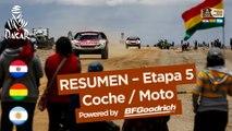 Resumen de la Etapa 5 - Coche/Moto - (Tupiza / Oruro) - Dakar 2017