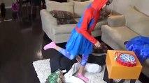 ✿✿ Frozen Elsa & Spider man Eat Giant Marshmallow Prank vs Joker Deadpool Spidey Funny Superhero