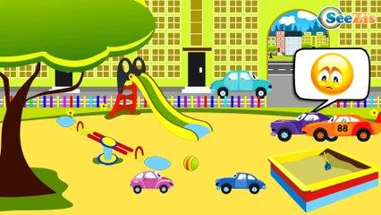Carros de Carreras rojo y Coche de Policía - Caricaturas de carros - Coches infantiles