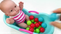 BABY DOLL Bath Time Learn Colors Balls Baby doll toys Video for Children