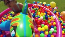 SURPRISE EGGS HUNT IN A KIDDIE POOL   Giant Egg Opening Golden Surprise Egg Ball