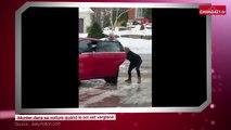 Monter dans sa voiture quand le sol est verglacé