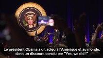 """""""Yes we did"""": le discours d'adieu du président Obama"""