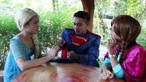 Frozen Elsa VAMPIRE TOILET ATTACK! w/ Spider-Man Joker Superman Princess Anna! Superheroes IRL