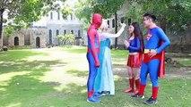 #Spiderman and Frozen Elsa Superman vs Maleficent w/ Venom Supergirl Batman SpiderGirl Hulk Iron Man