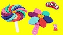 How To Make Play doh LOLLIPOP ice cream rainbow PEPPA PIG TOY EPISODES PLAY DOH Peppa Dough Playsets